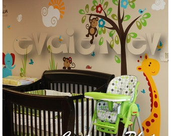 Safari Wall Decals - Monkeys on the Tree with Giraffe and Elephant - PLSF050L