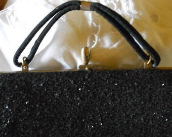 Vintage Black Sequined Clutch purse with strap