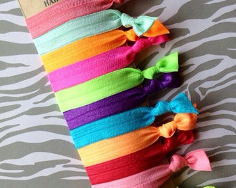 FOE Hair Ties Bright Summer Colors Neon  Pony Tail Holder, Summer Accessory Elastic