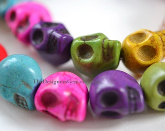 Multi Color Pink Purple Blue Green White Carved Howlite Skulls 18 x 17mm -1/2 STRAND