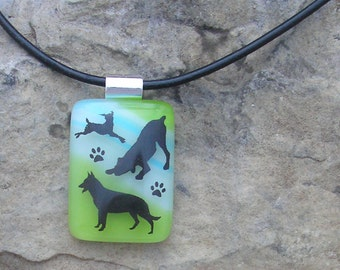 Dog Necklace Fused Glass Jewelry Glass Dog Pendant