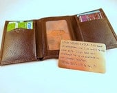 Wallet Insert Card - Copper Hand Stamped - 300 Character Max - Great Anniversary item  - Great Anniversary Gift!! - Great  Gift!