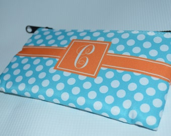 Personalized Cosmetic Bag, Monogrammed Pouch, Bridesmaid gift, Gift for her