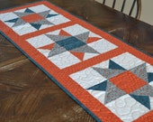 Quilted Table Runner, Orange Teal Blue Cotton Table Runner