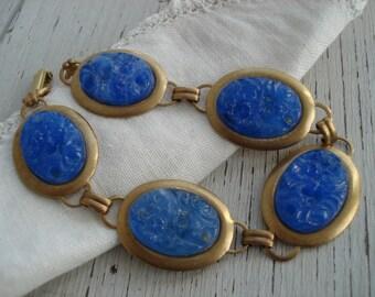 Vintage Carved French Blue Jade Glass Gold Bracelet 1940's 1950's Japan