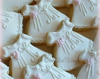 Christening cookies - Baptism cookies - Baby Girl Christening Dress Cookies - 1 dozen - First Communion cookies