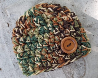 Chunky baby hat - woodsy - photo prop - newborn  size - made to order