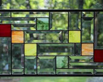 Beveled and Multi Colored Glass Stained Glass Panel