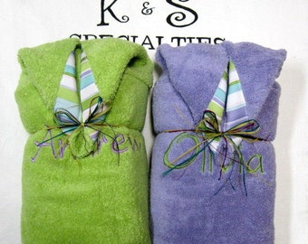 Personalized Monogrammed  Hooded Towel Made For Twins-Perfect Coordinated Gift