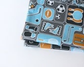 "Sport theme fabric - Organic Fabric for boys, Childrens fabric- ""Pick you sport"" - 1 Yard - fabric by the yard"