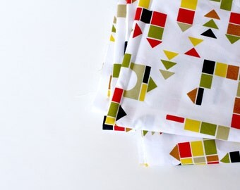"Organic Cotton Fabric -  Childrens Fabric ""Building Blocks"" , Multicolored,  1 yard - fabric by the yard"