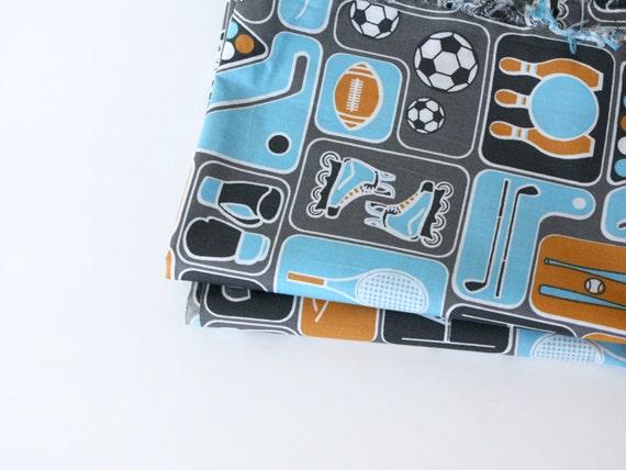 "Sport theme fabric - Organic Fabric for boys, Childrens fabric- ""Pick you sport"" - 1 Yard - fabric by the yard"