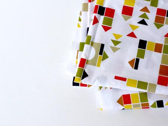 "Organic Cotton Fabric -  Childrens Fabric ""Building Blocks"" , Multicolored,  1 yard - fabric by the yard"