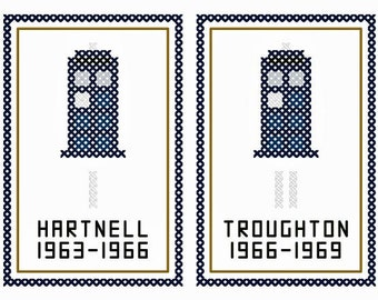 Set of Twelve Doctor Who Inspired TWELVE DOCTORS 50th Anniversary Cross Stitch Charts