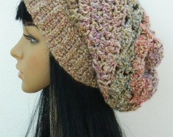 Winter Hat Slouchy Beanie  Boho Fashion Stylish  Tam For Women Teens In Brown Purple  Multicolored