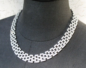 Vintage Crystal Rhinestone and Silver Tone Link Necklace and Bracelet Set