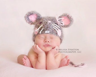 Newborn baby mouse crochet hat  photo props photography  girl