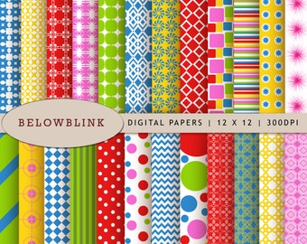 Birthday Digital Paper Pack, Scrapbook Papers, 24 jpg files 12 x 12 - Instant Download - DP191