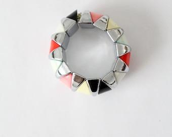 vintage metallic chunky bangle, 80s color block bracelet