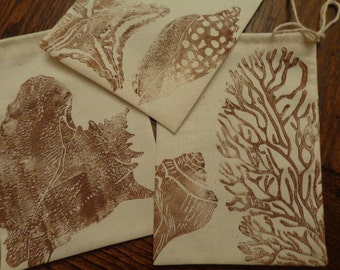 CHOCOLATE Seashells, Candy/Goody/Favor/Money/Silverware Muslin Bags 5 x 7 handmade with Ooak Detailed Hand Carved Stamps, For place settings