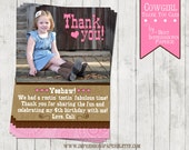 Cowgirl Cuteness - A Customizable Thank You Card - Cowgirl Party - Western Party