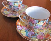 Vintage Handmade Fifth Avenue Collection Floral Chintz Tea Cup and Saucer Set - 4 numbered pieces - Tea Party - Serving - Collectible - Gift