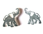 Mini Elephant Hand Carved Rubber Stamp, Handmade Elephant Stamp, Unmounted