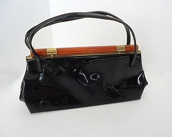 1950's -60's Atomic Rockabilly Mod Patent Leather style hand bag by Dover, U.S.A.