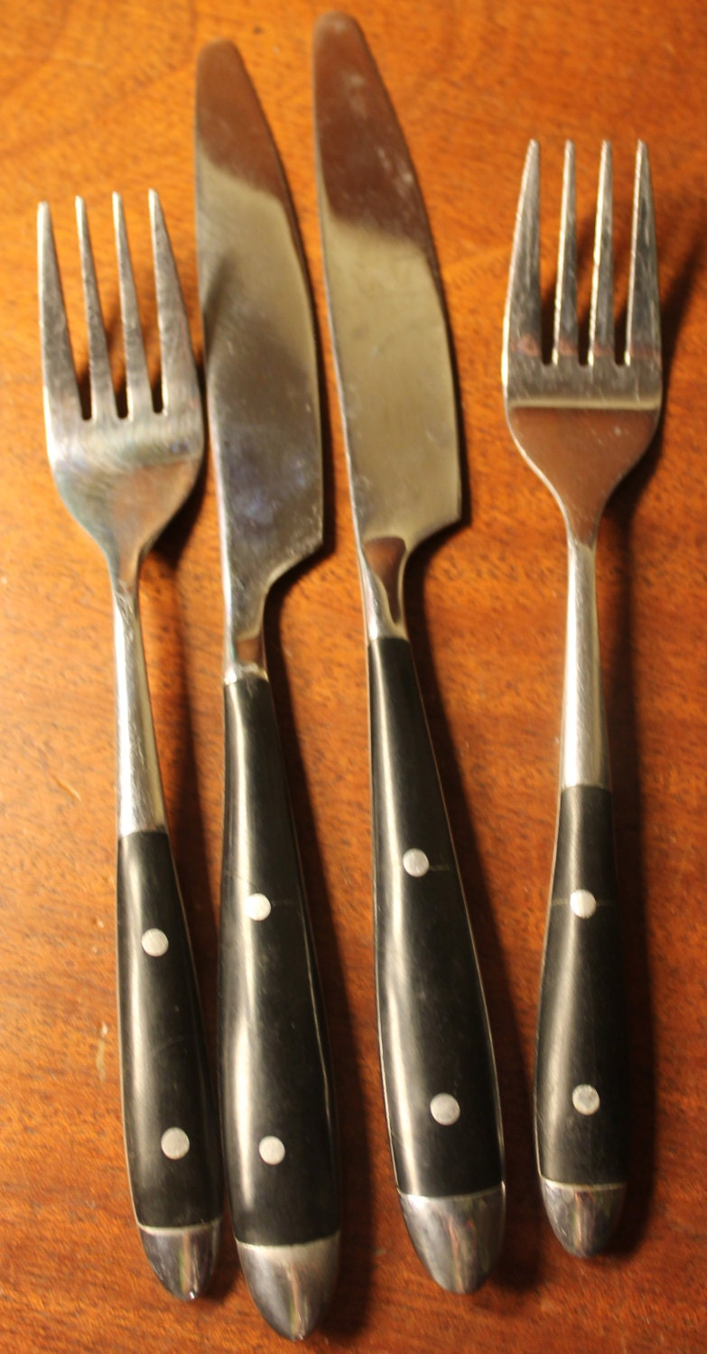 Vintage Flatware With Black Wood Handle And Two Rivets