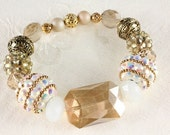 Gold and White Stretch Bracelet, Chunky Bling