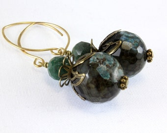 Green Agate Earrings, Vintage Inspired, Green Aventurine, Antique Bronze E13161