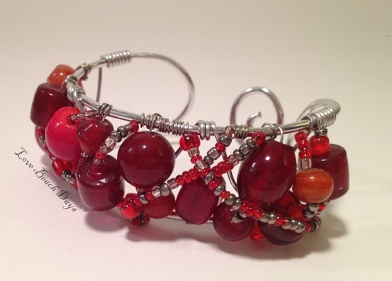 Cuff Bracelet: Unique Red Glass Beaded Silver Wire Wrapped Cuff Bracelet