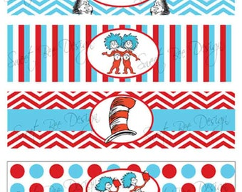 Dr Seuss Thing 1 & Thing 2 Birthday party or Baby Shower Water Bottle Labels