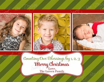 Christmas Photo Card- Holiday Photo Card - Printable Counting our Blessings