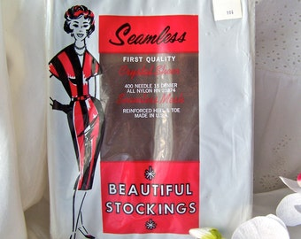 Vintage Seamless Stockings Seamless Mesh Stockings Hosiery NOS Size 10 1/2 1970s