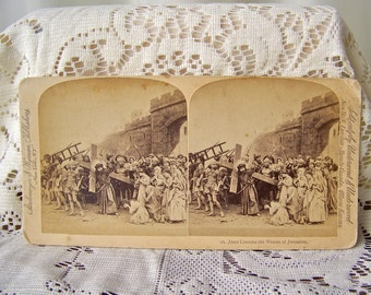 Antique Stereoview Card 3D Card Jesus Consoles The Women of Jerusalem Stereograph photo Stereoscope 1899 Underwood