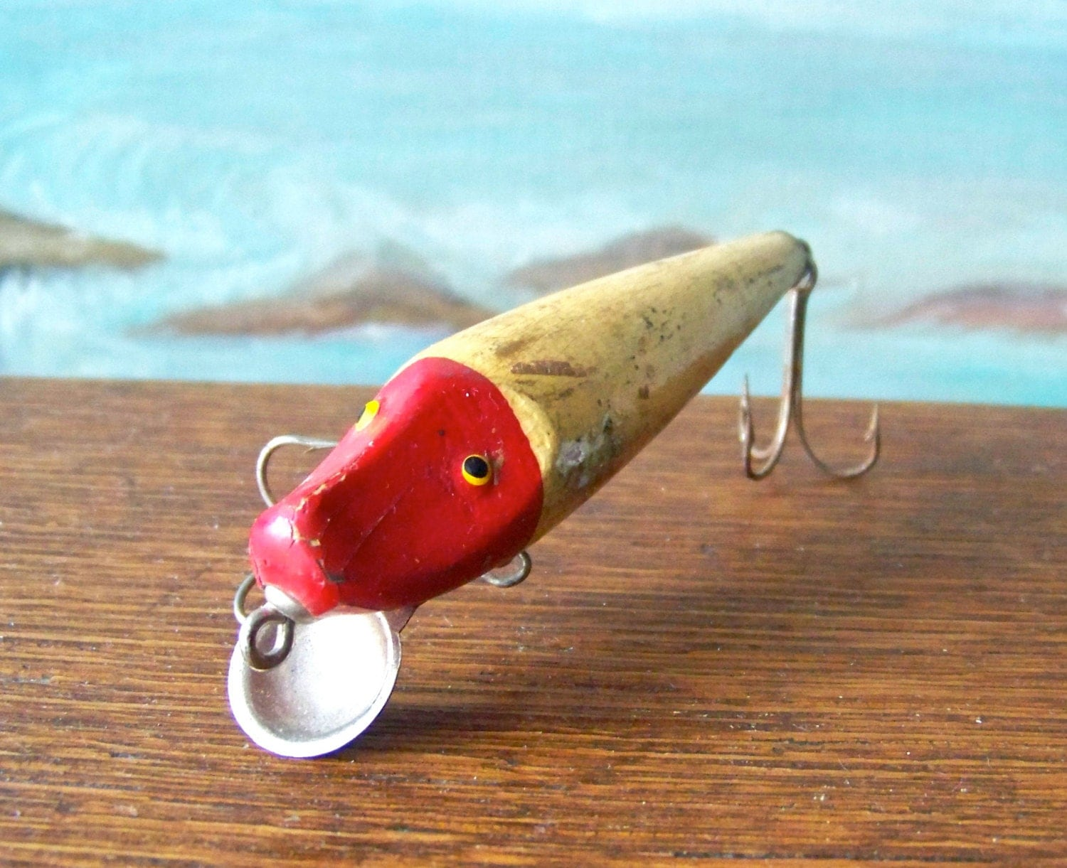 Vintage wood fishing lure bait tackle lure collector camping for Antique wooden fishing lures