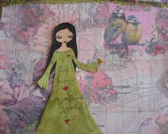 Give yourself unconditional regard - mixed media art print/reproduction by a Pink Dreamer