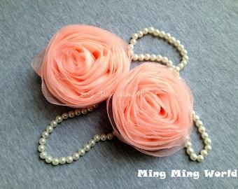 2 PCS Light Orange Chiffon and  Gauze Roses for Bridal,Headband,wedding gift,Brooch.(F5)