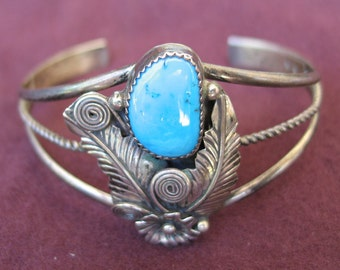 Sterling Silver and Turquoise Bracelet Squash Blossom