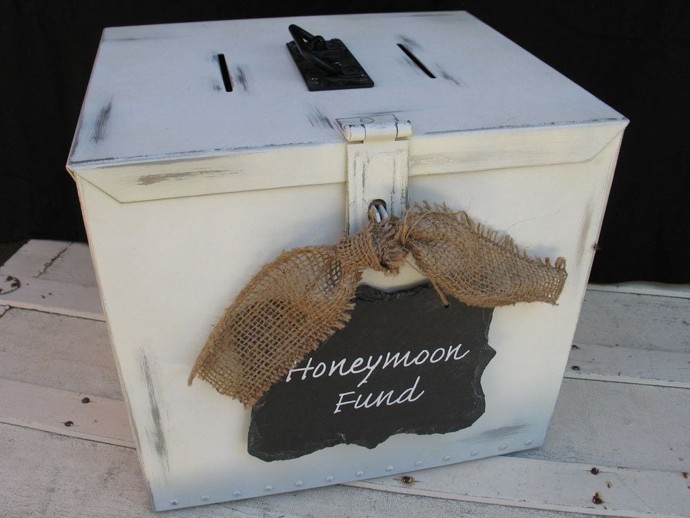 Wedding Money Box With Honeymoon Fund Slate