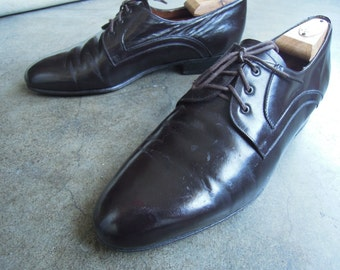 Vtg Italian Carrano Shiny Dark Chocolate Leather Oxfords Mens Size 8.5/9