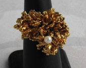 Abstract Sculpted Metal Nugget Style Cocktail Ring with Pearl Adjustable Size Gold Plated Vintage Jewelry