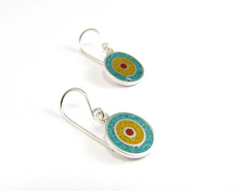 Sterling Silver Earrings, Concentric, Colorful,  Circles,Dangle, Modern, Contemporary