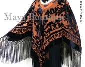 Tangerine & Black Silk Burnout Velvet Poncho Kimono Top Shawl Maya Matazaro
