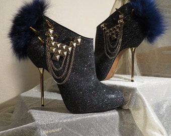 High Heel Platform Spiked Women Booties Black / Gold  Glitter with Fur size 7 1/2... A SpikesByG Design