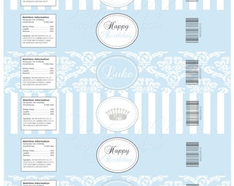 "PRINTABLE (Water Bottle Wraps) - ""Royaly Sweet Prince"" Collection - Vintage, Old World Design"