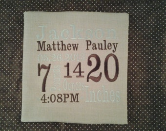 custom embroidered birth announcement for new babies