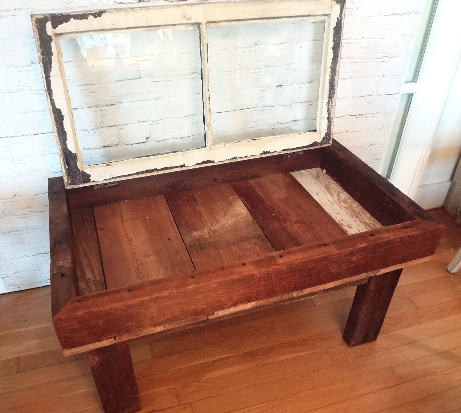 Handmade Rustic Antique Window Shadow Box Coffee Table