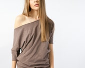 Oversized off the shoulder top, brown cotton cold shoulder top